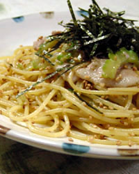 Spaghetti with Goya & Pork